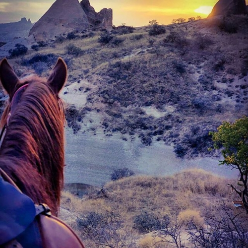 This photo I took for sunset while riding horse in valleys of #cappadociaIn #turkey